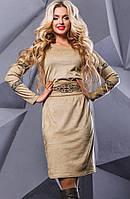 Бежевое замшевое платье с вышивкой и поясом Д-1043