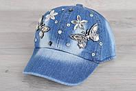 """Кепка детская джинсовая """"Бабочки с ромашками"""". Размер 50-52 см. Оптом и в розницу."""