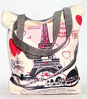 """Женская пляжная сумка из ткани """"Париж""""  WUU-325664, фото 1"""