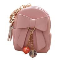 Мини-рюкзачок розовый с бантиком - брелок на сумочку