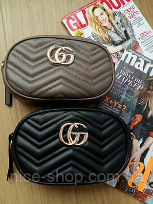 Сумочка Gucci Marmont капучино, эко-кожа, фото 3