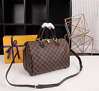 Сумка Louis Vuitton Speedy Damier Eben натуральная кожа Люкс копия