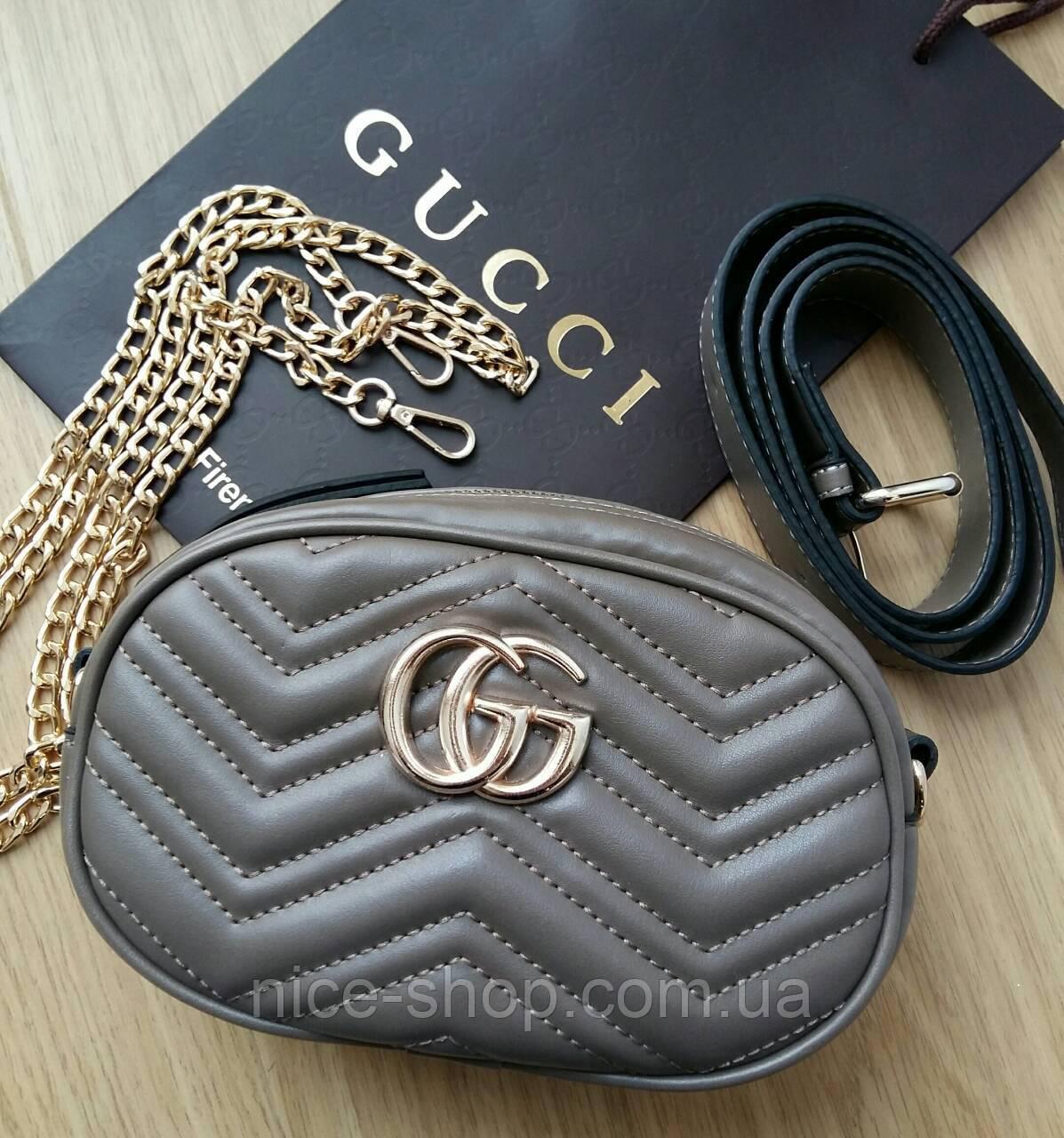 Сумочка Gucci Marmont капучино, эко-кожа
