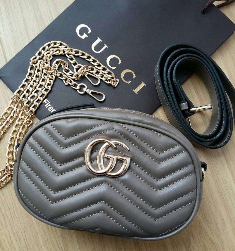 Сумочка Gucci Marmont капучино, эко-кожа, фото 2