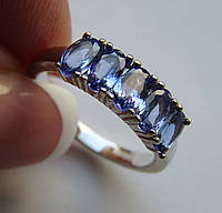 Кольцо с синими танзанитами 5х3мм. Размер 16.5