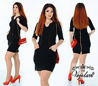 Стильное женское джинсовое платье батал, фото 1