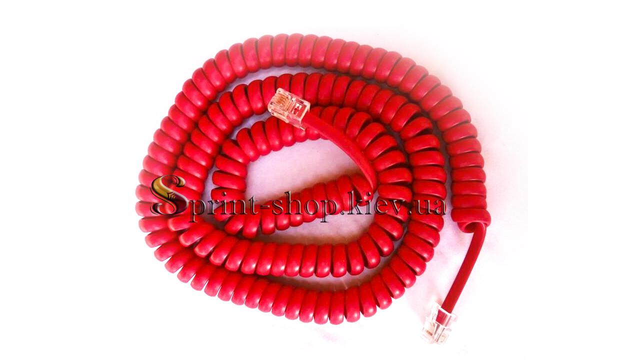 Телефонный шнур витой красный 4,6м