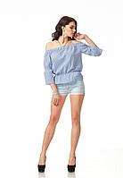 Женская летняя блуза на резинке. Модель К088_хлопок полоска синяя, фото 1
