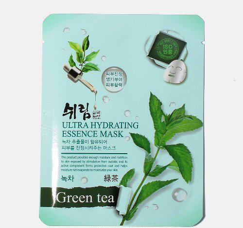 Увлажняющая тканевая маска с зеленым чаем Shelim Hydrating Essence Mask Green Tea