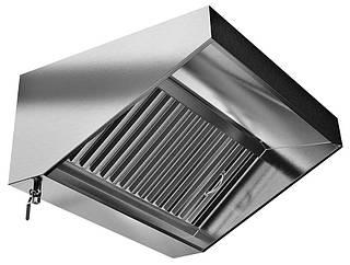 Зонт кухонный вытяжной пристенный из нержавеющей стали с жироулавливателем