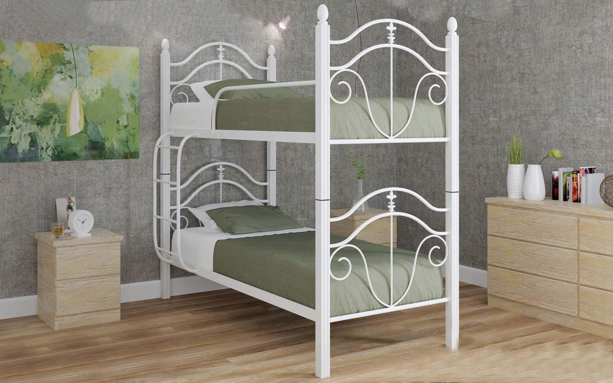 ✅Двухъярусная кровать Диана Вуд 80х190 см ТМ Металл-Дизайн