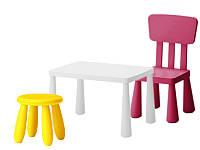Детский столик + стульчик + табурет IKEA