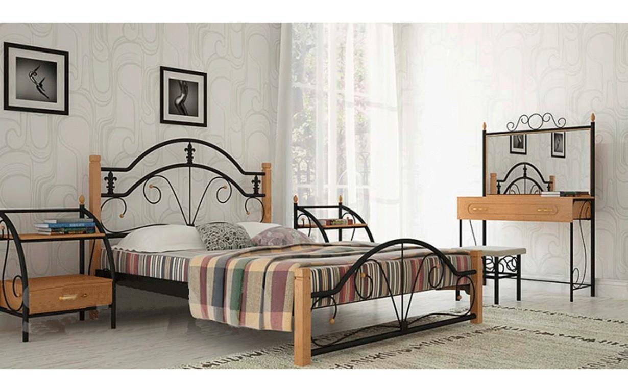 ✅Металева ліжко Діана Вуд 80х190 см ТМ Метал-Дизайн