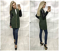 Модное женское пальто рукава экокожа