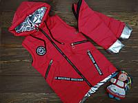 """Демисезонная куртка-жилетка """"Moschino"""" для девочки малиновая р.128-152, фото 1"""