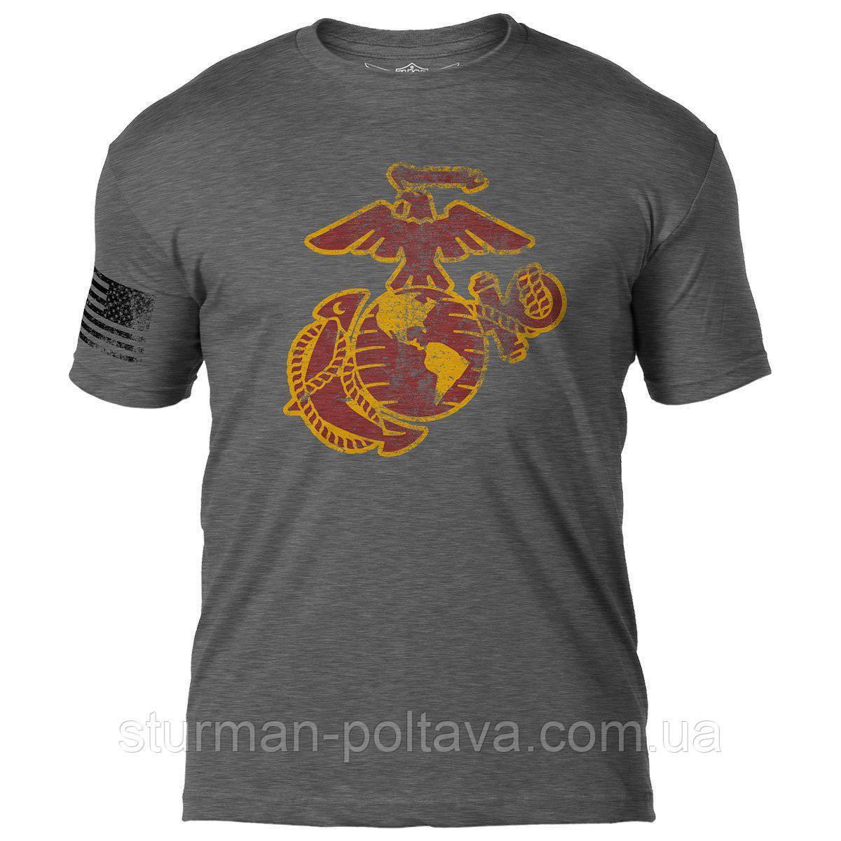 Футболка  мужская  винтажная  7.62 Design  со стареным принтом  морская пехота  USMC 7.62 Design