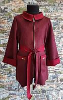 Детский кардиган-пальто для девочки марсалла замша 128,134,140,146см воротник пояс кармани манжети