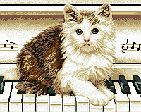 Набор алмазной мозаики: Котик на рояле, 40 × 50, GF1195