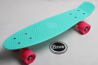 Пенни Борд Penny Board Original 22 Бирюзовая Дека Малиновые Колеса с гравировкой