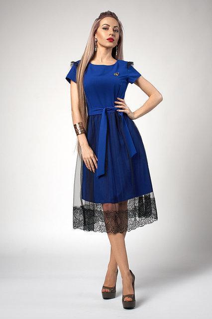 Стильное женское платье с фатиновой юбкой