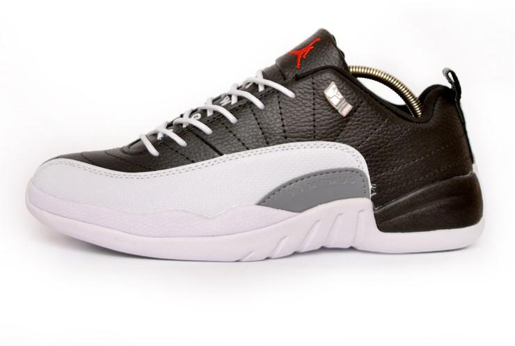 Баскетбольные Кроссовки Nike JORDAN 12 RETRO LOW Black White (Реплика ААА+)  — в Категории