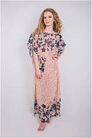 Пляжное платье туника женская шифон розовая персик длинная парео Calipso 050