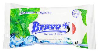 """Влажные салфетки """"Bravo+"""" Ледяная мята 15 шт"""