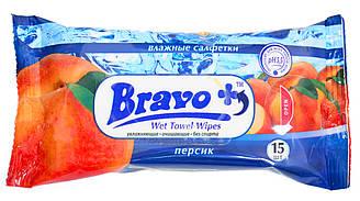 """Влажные салфетки """"Bravo+"""" Персик 15 шт"""