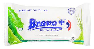 """Влажные салфетки """"Bravo+"""" Алоэ Вера 15 шт"""