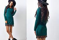Платье трикотажное,полу-приталенное с французским кружевом