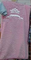 Детский плед большого размера из турецкой махры с вышивкой 100 х 100 см Корона