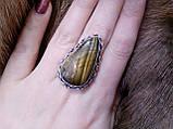 Кольцо тигровый глаз. Кольцо с натуральным тигровым глазом в серебре 18,5 размер Индия, фото 2