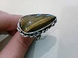 Кольцо тигровый глаз. Кольцо с натуральным тигровым глазом в серебре 18,5 размер Индия, фото 3