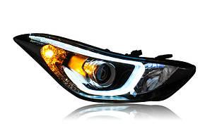 Штатная головная оптика с LED ангельскими глазкамиs 2012 по 2015 год для Hyundai Elantra