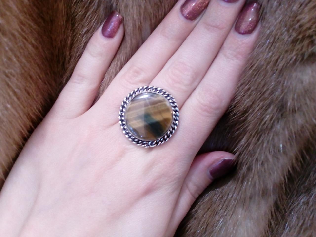Кольцо с тигровым глазом. Кольцо с натуральным камнем тигровый глаз в серебре 17 размер Индия