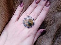 Кольцо с тигровым глазом. Кольцо с натуральным камнем тигровый глаз в серебре 17 размер Индия, фото 1