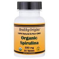 Healthy Origins, Органическая спирулина, 500 мг, 30 таблеток