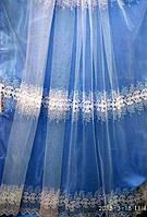 Белая тюль с вышивкой на фатине с чистыми полями Оптом и на метраж Высота 2.8 м, фото 1