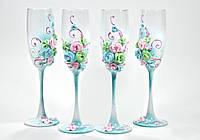 Свадебные бокалы молодоженов в голубо-розовом цвете  ТЛ-1701
