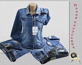 Куртка женская джинсовая большого размера светло-синего цвета классика