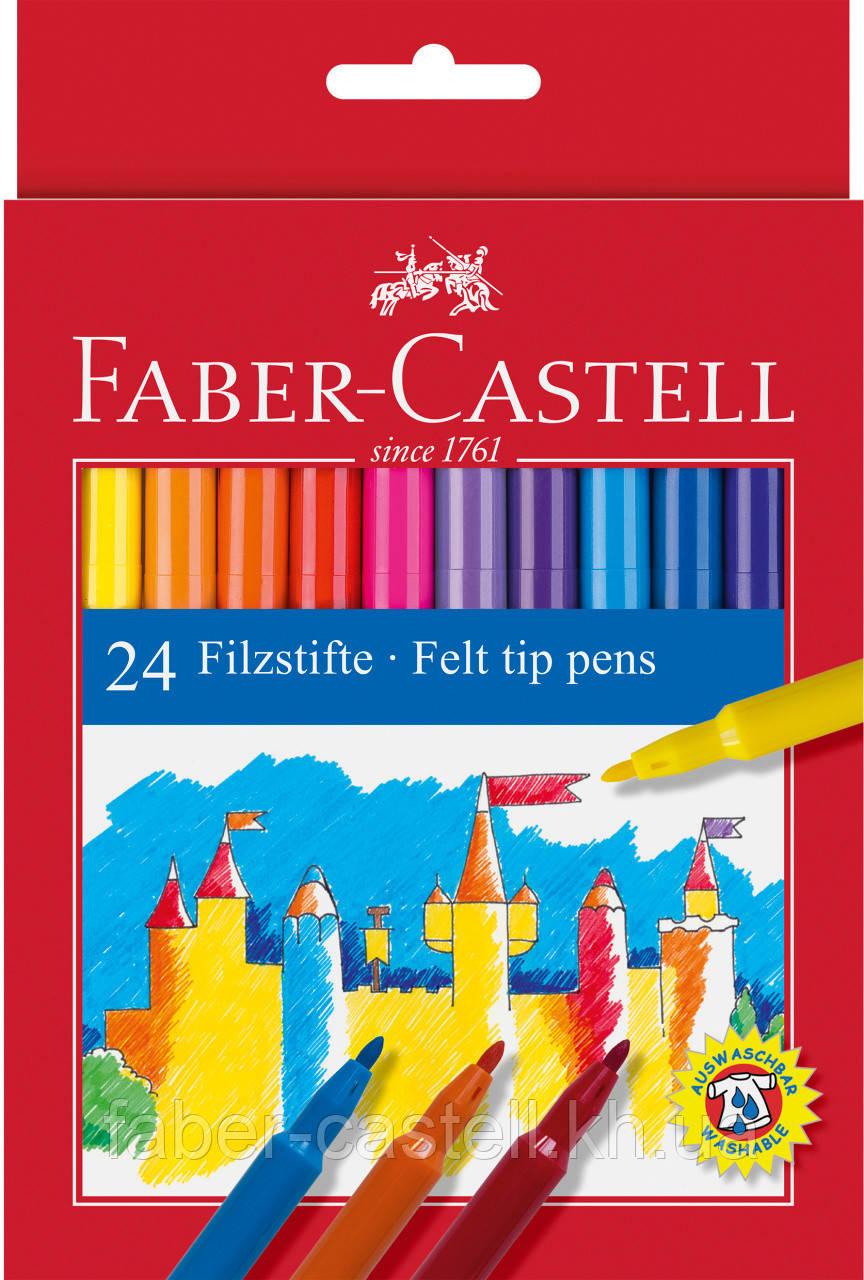 """Фломастеры Faber-Castell Felt tip 24 цвета  """"Замок"""" в картонной коробке, 554224"""