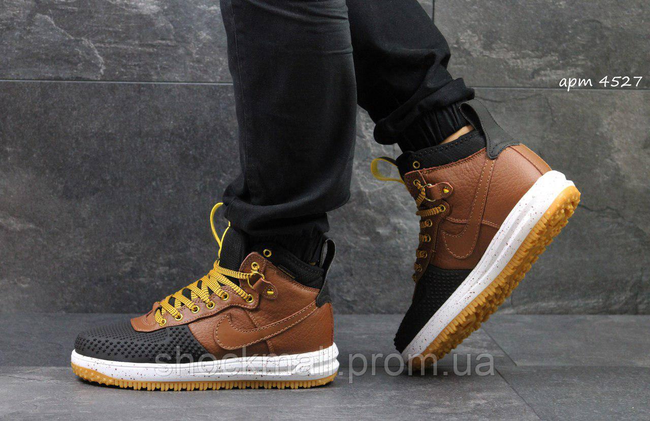 06678728 Nike Lunar Air Force LF1 кроссовки мужские черные с коричневым Вьетнам  реплика - Интернет магазин ShockMall