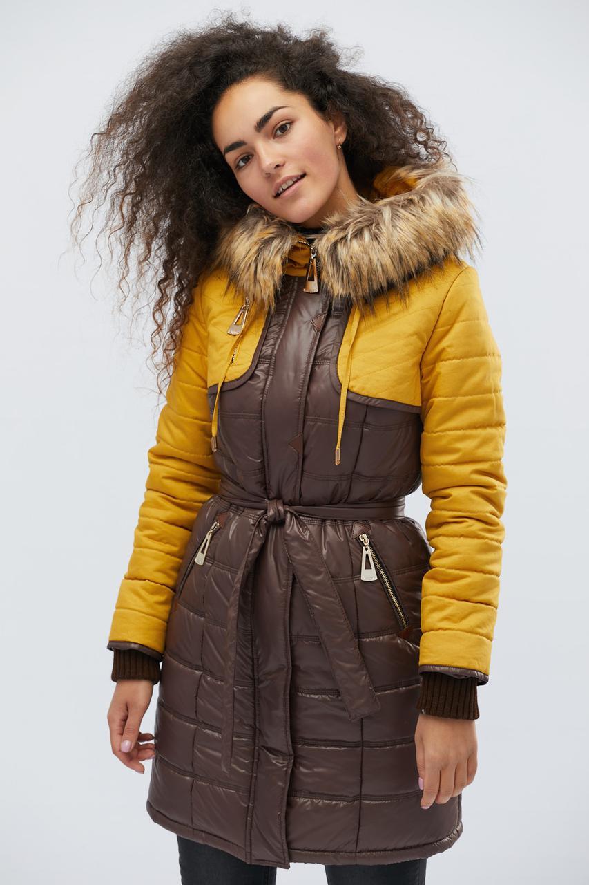 Зимняя куртка LS-8567-26, (Шоколад-желтый)
