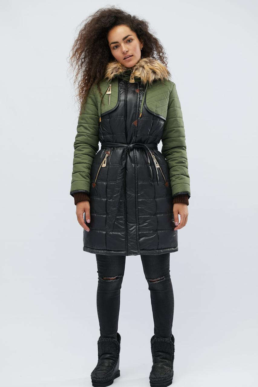 Зимняя куртка LS-8567-8, (Черный-оливка)