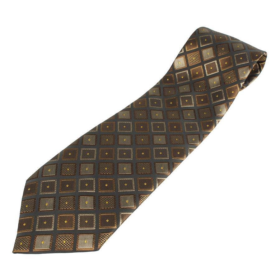 Чоловіча краватка коричневого відтінку 030 з абстрактним принтом