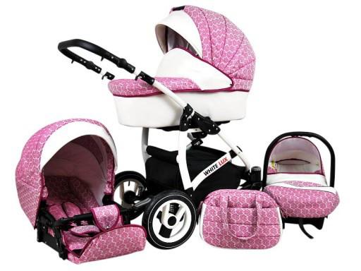 Багатофункціональна дитяча коляска RAF-POL BABYLUX WHTIE LUX 3в1