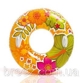Надувной круг для плавания Intex оранжевый 97 см с держателями для рук
