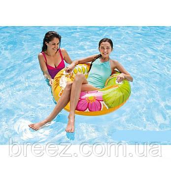 Надувной круг для плавания Intex оранжевый 97 см с держателями для рук, фото 2
