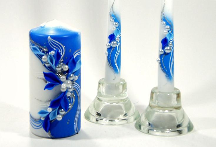 Свадебный набор свечей синий ТЛ-924