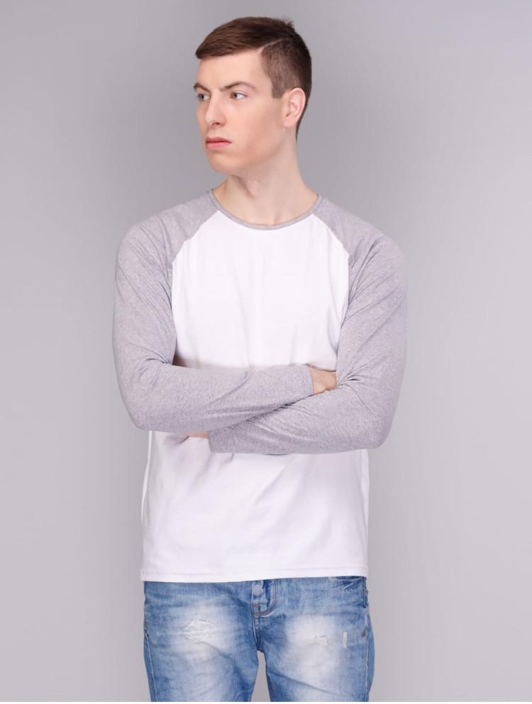 Лонгслив, рукав реглан білий-світло сірий